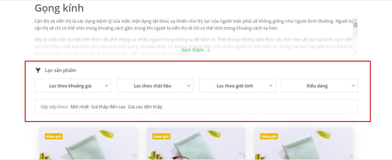 Sử dụng bộ lọc của trang web